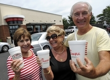 Brenda Howard, left, joined with her friends, Cecelia Pegram and Hines Pegram, at the Chick-fil-A in Myrtle Beach during lunch, Wednesday, Aug. 1, 2012. Chick-fil-A supporters are eating at restaurants in the chicken chain as the company continues to be criticized for an executive's comments about marriage and family.  (AP Photo/The Sun News, Charles Slate)