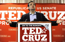 Texas Republican Senate candidate Ted Cruz speaks to the media, Wednesday, Aug. 1, 2012, in Houston, a day after defeating Lt. Gov. David Dewhurst in a runoff.  (AP Photo/Pat Sullivan)