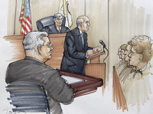 In this courtroom sketch, Drew Peterson, foreground, looks on, his defense attorney Joel Brodsky gives his opening statement before Judge Edward Burmila and jurors, Tuesday, July 31, 2012, in Joliet, Ill., in Peterson's murder trial. Peterson is charged in the 2004 death of his third wife Kathleen Savio.  (AP Photo/Tom Gianni)