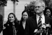 Former Gov. Don Siegelman speaks to the media outside the Federal Courthouse in Montgomery, Ala., after being sentenced to 78 months in prison on Friday, Aug. 3, 2012. Siegelman has already served nine moths of his sentence and will report in September. His wife Lori Siegelman and daughter Dana Siegelman look on. (AP Photo/Montgomery Advertiser, Amanda Sowards)
