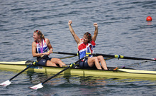 Great Britain's Katherine Grainger, right, and Anna Watkins celebrate after winning the gold medal for the women's rowing double sculls  in Eton Dorney, near Windsor, England, at the 2012 Summer Olympics, Friday, Aug. 3, 2012. (AP Photo/Emilio Morenatti)