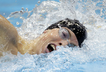 United States' Connor Jaeger competes in a 1500-meter freestyle swimming heat at the Aquatics Centre in the Olympic Park during the 2012 Summer Olympics in London, Friday, Aug. 3, 2012. (AP Photo/Michael Sohn)