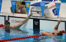 USA's Tyler Clary, right, celebrates his win in the Men's 200m Backstroke at the Aquatics Centre for the London 2012 Olympics in London, England on Thursday, Aug. 2, 2012.  Ryan Lochte, left, finished in third place.  (Nhat V. Meyer/Mercury News)