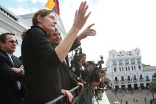 Ecuador's President Rafael Correa, third from left, talks with Christine Assange, the mother of WikiLeaks founder Julian Assange on the balcony of the presidential palace in Quito, Ecuador, Wednesday, Aug. 1, 2012. Christine Assange is in Ecuador to meet with officials about her son's political asylum request. Ecuadorean officials have said they will not announce a decision until after the London Olympic Games end in mid-August. The 40-year-old Australian has been holed up inside the Ecuadorian Embassy in London since applying for political asylum on June 19. (AP Photo/Martin Jaramillo)