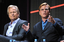 Actor Jeff Daniels, left, and creator and executive producer Aaron Sorkin appear onstage during HBO's TCA panel for