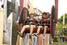 Courtesy Diyah Pera     20th Century Fox Rowley (Robert Capron, left) and Greg (Zachary Gordon) endure a scary amusement-park ride in
