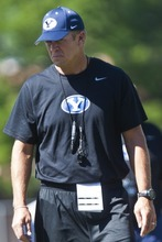 Chris Detrick  |  The Salt Lake Tribune BYU football head coach Bronco Mendenhall watches during a preseason practice at the BYU outdoor practice field Thursday August 2, 2012.