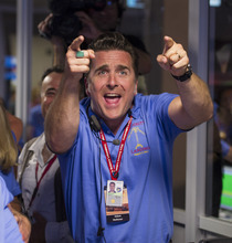In a Photo provided by NASA, Mars Science Laboratory Entry, Descent and Landing Engineer Adam Steltzner reacts after the Curiosity rover successfully landed on Mars and as first images start coming in to the Jet Propulsion Laboratory, Sunday Aug. 5, 2012, in Pasadena, Calif. The MSL Rover named Curiosity was designed to assess whether Mars ever had an environment able to support small life forms called microbes.  Photo Credit: (NASA/Bill Ingalls)