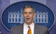 Education Secretary Arne Duncan speaks durng the daily news briefing at the White House, Friday, April 20, 2012, in Washington. (AP file photo)