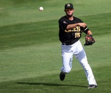 Kim Raff | The Salt Lake Tribune Salt Lake Bees player Matt Long throws the ball to first base for an out against Oklahoma City Redhawks at Spring Mobile Ballpark in Salt Lake City, Utah on August 5, 2012.