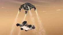 An artist's rendering of what the Sky Crane looks like while lowering the Mars rover Curiosity onto the surface of the Red Planet. Credit: NASA/JPL-Caltech
