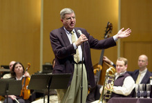 FILE - This March 27, 2003 file photo shows conductor and composer Marvin Hamlisch after being appointed the principal pops conductor for the Buffalo Philharmonic Orchestra at the Kleinhan's Music Hall in Buffalo, N.Y.  Hamlisch, a conductor and award-winning composer best known for the torch song
