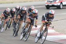 Paul Fraughton | Salt Lake Tribune Riders on the Radioshack team round a curve at the team time trial at  the second stage of the Tour of Utah held at Miller Motorsports Park.  Radioshack finished in third place.  Wednesday, August 8, 2012
