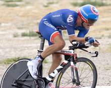 Paul Fraughton | Salt Lake Tribune David Zabriskie of team Garmin Sharp sporting  the Captain America  star on his helmet takes the lead position at  the team time trial at  the second stage of the Tour of Utah held at Miller Motorsports Park. Garmin Sharp won the stage giving teammate Christian Vandevelde  the yellow jersey.  Wednesday, August 8, 2012