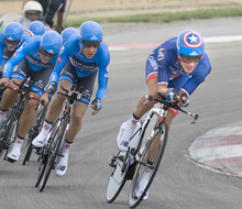 Paul Fraughton | Salt Lake Tribune David Zabriskie of team Garmin Sharp takes the lead position at  the team time trial, held at Miller Motorsports Park. Garmin Sharp won the stage.