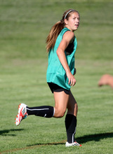 Steve Griffin | The Salt Lake Tribune East high's Janie Kearl looks for a pass as she runs ahead of the play during soccer practice at the Salt Lake City school.
