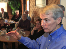 In this May 11, 2012, photo Sen. Rob Portman speaks to supportersat the Lake Manor Restaurant in Mt. Orab, Ohio. President Barack Obama and his Democratic allies aren't waiting for Republican Mitt Romney to reveal his vice presidential choice. They're already trying to scuff up those considered by political insiders to be most likely to join the GOP ticket.  The president's campaign started swinging at the potential Republican running mates, including Pawlenty, this week while urging home-state Democrats to chime in about the shortcomings  (AP Photo/Al Behrman)