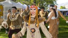 Paul Fraughton   Salt Lake Tribune Eva Kuzmenko with the Siberian dance troupe