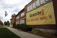 Francisco Kjolseth  |  The Salt Lake Tribune A large banner drapes Granite High on Thursday, Nov. 3, 2011, before voters rejected a $25 million bond proposal to turn the historic campus into a community center. Now, the the city plans to have a private developer build a commercial center at the school.