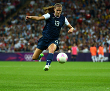 USA's Alex Morgan (13) controls the ball against Japan in the second half of their game for the Women's Football Gold Medal Match at Wembley Stadium for the London 2012 Olympics in London, England on Thursday, Aug. 9, 2012.  (Nhat V. Meyer/Mercury News)