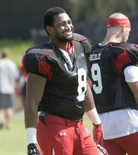 Paul Fraughton  |  The Salt Lake Tribune Defensive end Nate Fakahafua during Utah' practice on Tuesday, August 7, 2012.