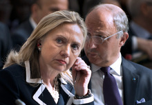 FILE - In this July 6, 2012 file photo, U.S. Secretary of State Hillary Rodham Clinton and French Foreign Minister Laurent Fabius attend the