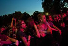 Chris Detrick  |  The Salt Lake Tribune Divine Fits perform during the Twilight Concert Series at Pioneer Park Thursday August 9, 2012.
