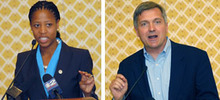 Al Hartmann  |  Tribune file photo Saratoga Springs Mayor Mia Love and U.S. Rep. Jim Matheson, contenders in Utah's new 4th Congressional District, appear at a recent Utah Taxpayers Association conference.