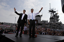 Republican presidential candidate, former Massachusetts Gov. Mitt Romney, right, introduces his vice presidential running mate, Wisconsin Rep. Paul Ryan, Saturday, Aug. 11, 2012 in Norfolk, Va. (AP Photo/Virginian-Pilot, Amanda Lucier)  MAGS OUT