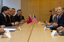 U.S. Secretary of State Hillary Rodham Clinton, at far right, meets with Turkey's Foreign Minister Ahmet Davutoglu, at far left, in Istanbul, on Saturday, Aug. 11, 2012. (AP Photo/Jacquelyn Martin, Pool)