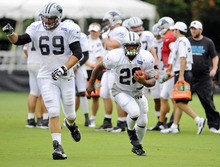 Carolina Panthers' Jonathan Stewart (28) runs upfield, as Jordan Gross (69) blocks during a drill at the NFL football team's training camp Tuesday, Aug. 7, 2012, in Spartanburg, S.C. (AP Photo/The Charlotte Observer, David T. Foster III)