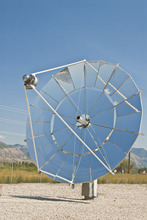 Ogden-based Infinia Corp. plans to place 430 solar concentrators called PowerDishes, like the one shown in this picture, at Tooele Army Depot. The depot expects the 1.5 megawatt array to provide 30 percent of its electricity needs. Photo courtesy of Infinia Corp.