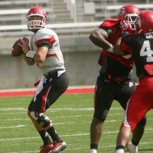 Steve Griffin | The Salt Lake Tribune   Utah quarterback Jordan Wynn looks downfield during a scrimmage Aug. 9, 2012.
