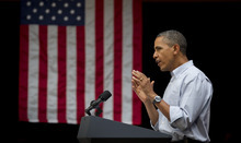 President Barack Obama speaks at a campaign event at Bridgeport Art Center, Sunday, Aug. 12, 2012, in Chicago. (AP Photo/Carolyn Kaster)