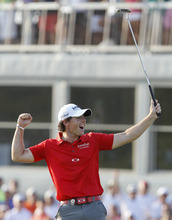 Rory McIlroy of Northern Ireland reacts to his victory on the 18th green in the final round of the PGA Championship golf tournament on the Ocean Course of the Kiawah Island Golf Resort in Kiawah Island, S.C., Sunday, Aug. 12, 2012. (AP Photo/Lynne Sladky)