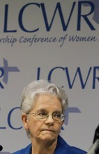 President elect Sister Florence Deacon, of The Leadership Conference of Women Religious Sister listens to reporters Friday, Aug. 10, 2012 in St. Louis. The largest U.S. group for Roman Catholic nuns got together to decide how they should respond to a Vatican rebuke and order for reform. The LCWR, represents most of the 57,000 American nuns. (AP Photo/Seth Perlman)