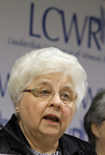 Sister Marlene Weisenbeck, speaks to reporters while other members of The Leadership Conference of Women Religious attend The 2012 Assembly Friday, Aug. 10, 2012 in St. Louis. The largest U.S. group for Roman Catholic nuns meet to decide how they should respond to a Vatican rebuke and order for reform. The LCWR, represents most of the 57,000 American nuns. (AP Photo/Seth Perlman)