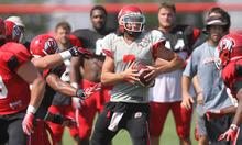 Lennie Mahler     The Salt Lake Tribune Utah quarterback Travis Wilson scrambles to avoid defense in a practice scrimmage Saturday, Aug. 11, 2012.