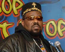 FILE - This Feb. 28, 2006 file photo shows hip hop DJ pioneer Afrika Bambaataa speaking at a news conference to  launch