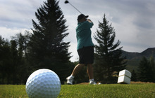 Scott Sommerdorf  |  The Salt Lake Tribune              Larry Lucero tees off while playing golf at Mountain Dell Golf Course, Monday, August 13, 2012.