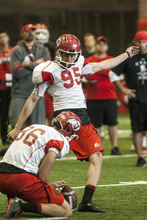 Chris Detrick  |  The Salt Lake Tribune Utah Utes kicker Coleman Petersen (95) kicks a field goal during a practice at the Spence Eccles Field House Thursday April 12, 2012.