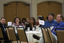 Chris Detrick  |  The Salt Lake Tribune Attendees listen as Howard Rainer speaks during the 7th annual Native American summit at the Sheraton in Salt Lake City Tuesday August 14, 2012.  Rainer is a Taos Pueblo-Creek Indian from Taos Pueblo, New Mexico.