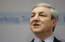 FILE - In this March 7, 2007, file photo, Penn State University president Graham Spanier speaks during a news conference at the Penn State Milton S. Hershey Medical Center in Hershey, Pa. As of Thursday Aug. 16, 2012, more than a month after an explosive investigative report accused Penn State's ousted president of burying child sex abuse allegations against Jerry Sandusky, Graham Spanier has so far avoided criminal charges.  That doesn't mean he's in the clear, according to legal experts.  (AP Photo/Carolyn Kaster, File)
