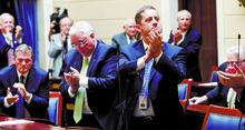 Al Hartmann  |  The Salt Lake Tribune   Some members of the Utah Senate applaud Su J. Chon after their confirmation vote.