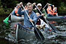 Casper (Casper Christensen, front) and Frank (Frank Hvam, behind) take little Bo (Marcuz Jess Petersen) on a wild canoe ride in the raunchy Danish comedy