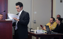 Al Hartmann  |  The Salt Lake Tribune   Defense lawyer Gerald Salcido questions witness during the second day of a preliminary hearing for Greg Peterson in Third District Court in Salt Lake City Wednesday August 15.