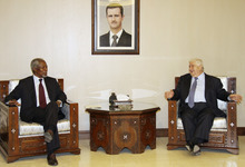 UN-Arab League Joint Special Envoy for Syria (JSE) Kofi Annan, left, meets with Syrian Foreign Minister Walid Moallem, right, in Damascus, Syria, Monday, May 28, 2012. Annan arrived in Damascus on Monday for talks with Syrian President Bashar Assad. (AP Photo/Bassem Tellawi)