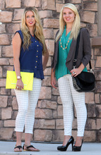 Rick Egan  | The Salt Lake Tribune   Summer: Hilary Soter wears the houndstooth pants ($49.99), with a sheer sleeveless blouse ($24.99), black sandals ($22.99), and a neon envelope clutch ($32.99). Fall: Katie Kelson wears the same houndstooth pants with a teal v-neck blouse ($29.99), gray blazer ($34.50), black pumps ($19.50), and a black-spiked bag ($59.99).