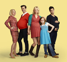 Ellen Barkin as Jane, Andrew Rannells as Bryan, Georgia King as Goldie, Bebe Wood as Shania, Justin Bartha as David. Courtesy Robert Trachtenberg  |  NBC