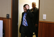 Scott Sommerdorf  |  The Salt Lake Tribune              Roberto Miramontes Román enters the courtroom after a short recess, Friday, August 17, 2012.